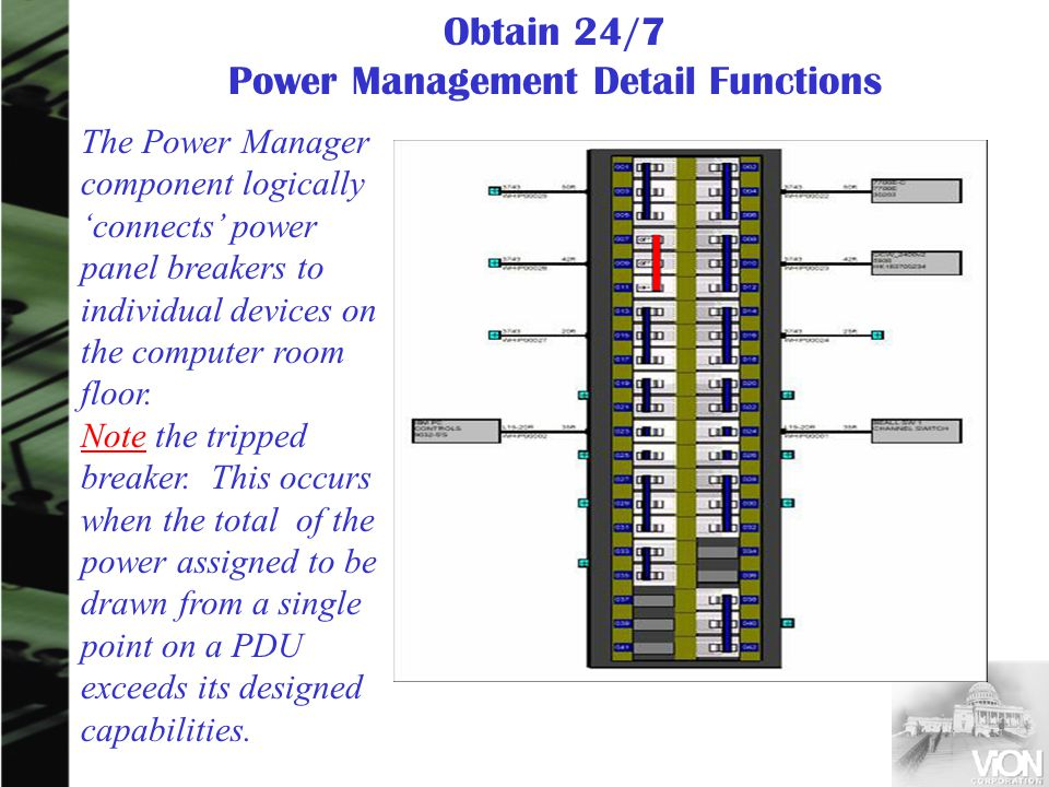 The Power Manager component logically connects power panel breakers to individual devices on the computer room floor. Note the tripped breaker. This o