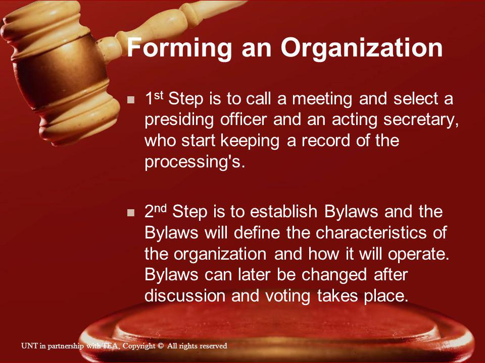 Officers n President- presides over all meetings, supervises other officers and committees and represents the organization.