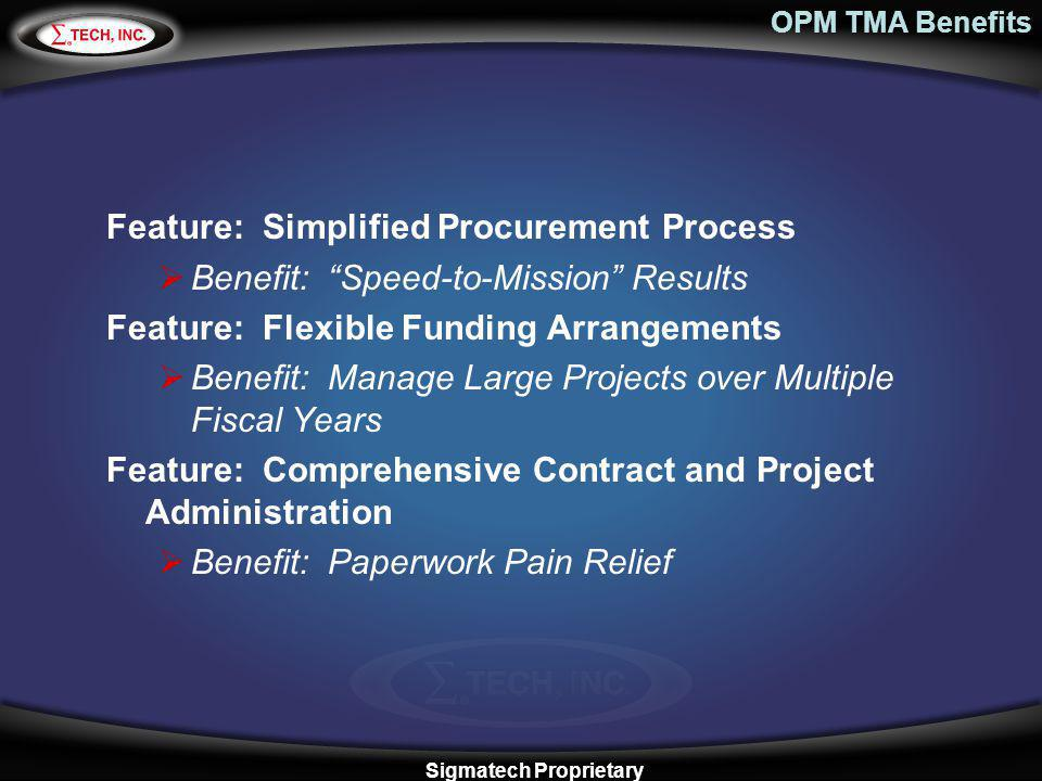OPM TMA Benefits Feature: Simplified Procurement Process Benefit: Speed-to-Mission Results Feature: Flexible Funding Arrangements Benefit: Manage Larg