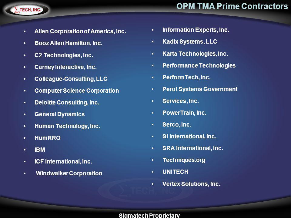 OPM TMA Prime Contractors Allen Corporation of America, Inc. Booz Allen Hamilton, Inc. C2 Technologies, Inc. Carney Interactive, Inc. Colleague-Consul