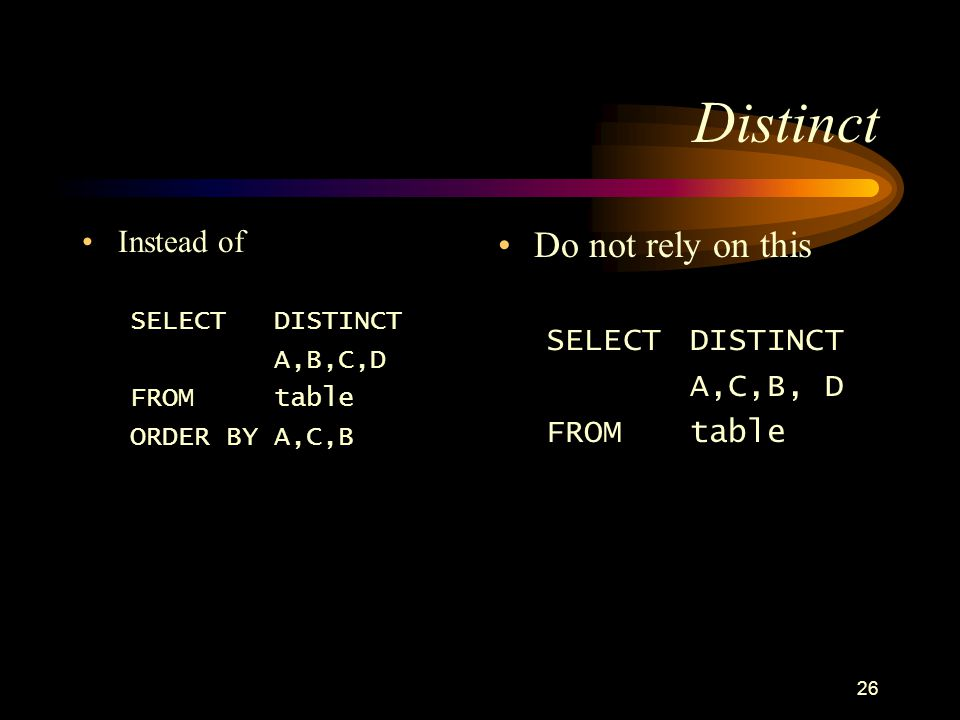 26 Distinct Instead of SELECTDISTINCT A,B,C,D FROMtable ORDER BY A,C,B Do not rely on this SELECT DISTINCT A,C,B, D FROMtable