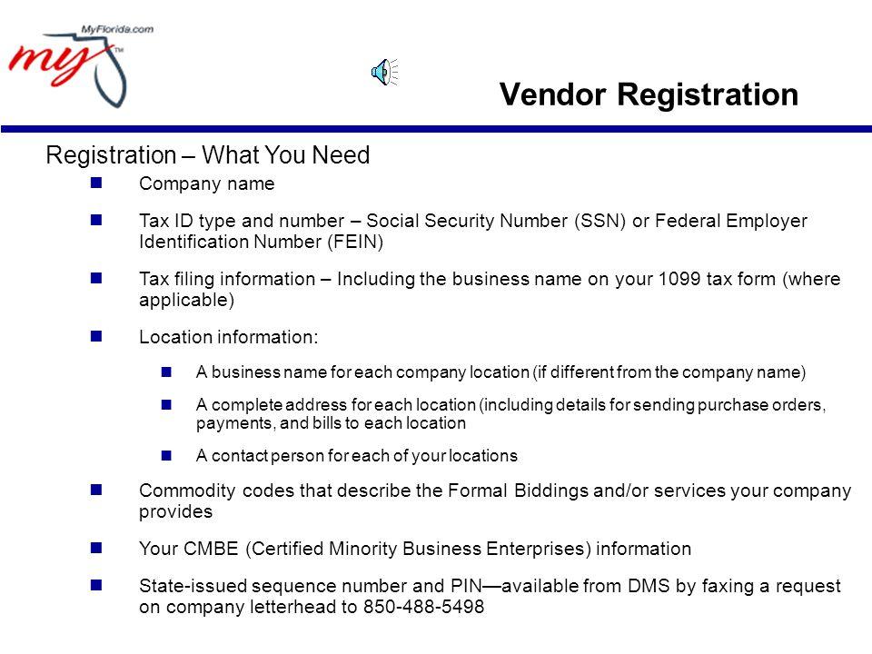 Vendor Registration Vendor Registration