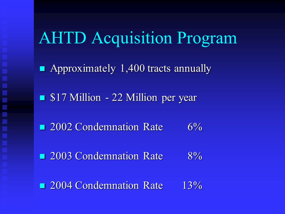 AHTD Acquisition Program Approximately 1,400 tracts annually Approximately 1,400 tracts annually $17 Million - 22 Million per year $17 Million - 22 Mi