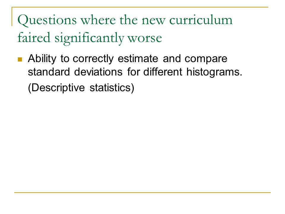 Questions where the new curriculum faired significantly worse Ability to correctly estimate and compare standard deviations for different histograms.