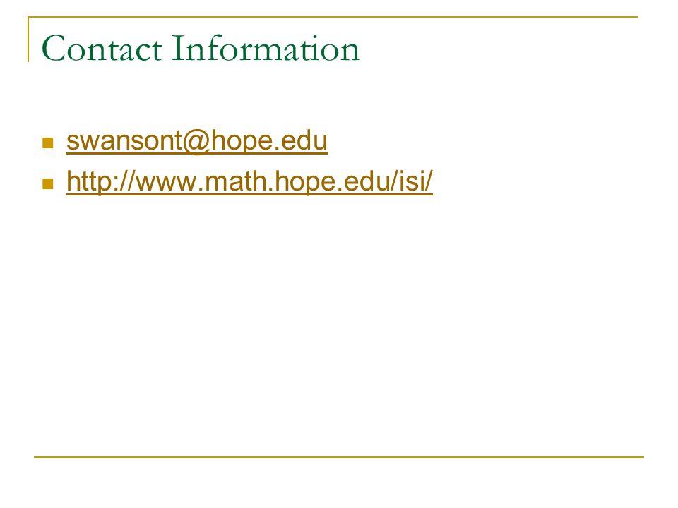 Contact Information swansont@hope.edu http://www.math.hope.edu/isi/