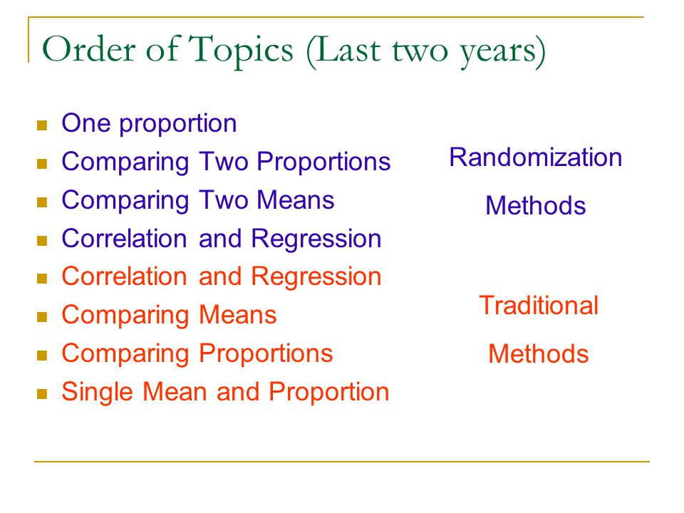 Order of Topics (Last two years) One proportion Comparing Two Proportions Comparing Two Means Correlation and Regression Comparing Means Comparing Pro