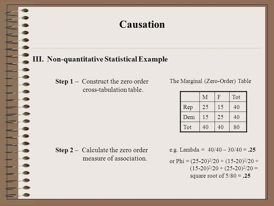 Causation III. Non-quantitative Statistical Example Step 1 – Construct the zero order cross-tabulation table. The Marginal (Zero-Order) Table MFTot Re