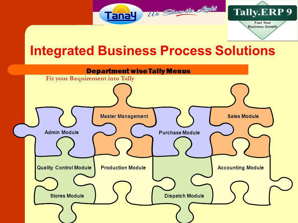 Admin Module Integrated Business Process Solutions Admin Module Department wise Tally Menus Master Management Purchase Module Sales Module Stores Modu