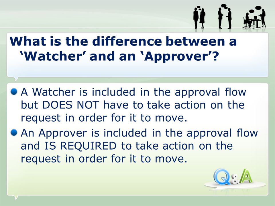 A Watcher is included in the approval flow but DOES NOT have to take action on the request in order for it to move.