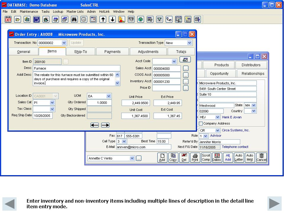 Enter inventory and non-inventory items including multiple lines of description in the detail line item entry mode.