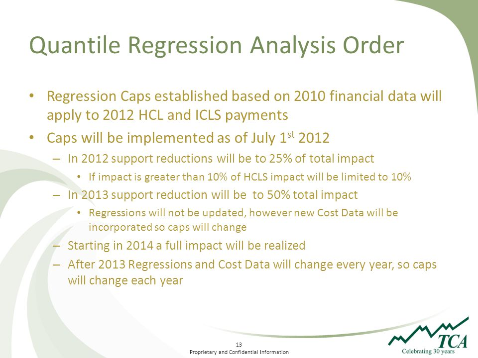 13 Proprietary and Confidential Information Quantile Regression Analysis Order Regression Caps established based on 2010 financial data will apply to 2012 HCL and ICLS payments Caps will be implemented as of July 1 st 2012 – In 2012 support reductions will be to 25% of total impact If impact is greater than 10% of HCLS impact will be limited to 10% – In 2013 support reduction will be to 50% total impact Regressions will not be updated, however new Cost Data will be incorporated so caps will change – Starting in 2014 a full impact will be realized – After 2013 Regressions and Cost Data will change every year, so caps will change each year