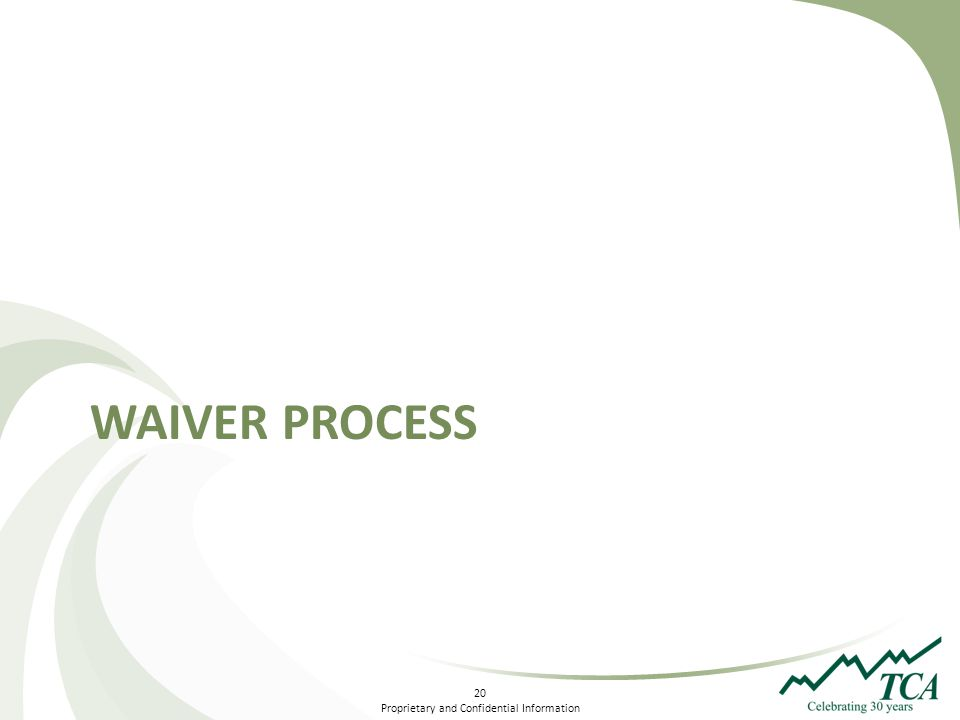 20 Proprietary and Confidential Information WAIVER PROCESS