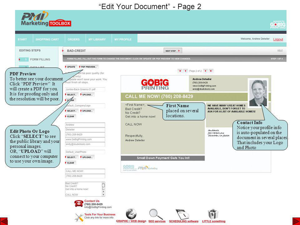 Edit Your Document - Page 2 Contact Info Notice your profile info is auto-populated on the document in several places.