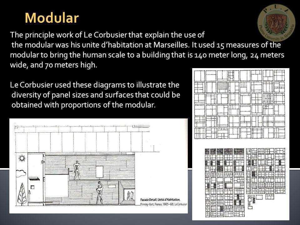 Modular The principle work of Le Corbusier that explain the use of the modular was his unite dhabitation at Marseilles. It used 15 measures of the mod