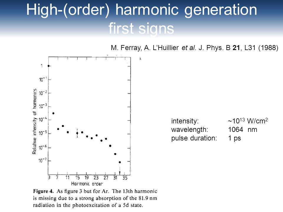 High-(order) harmonic generation first signs M. Ferray, A. LHuillier et al. J. Phys. B 21, L31 (1988) intensity: ~10 13 W/cm 2 wavelength: 1064 nm pul