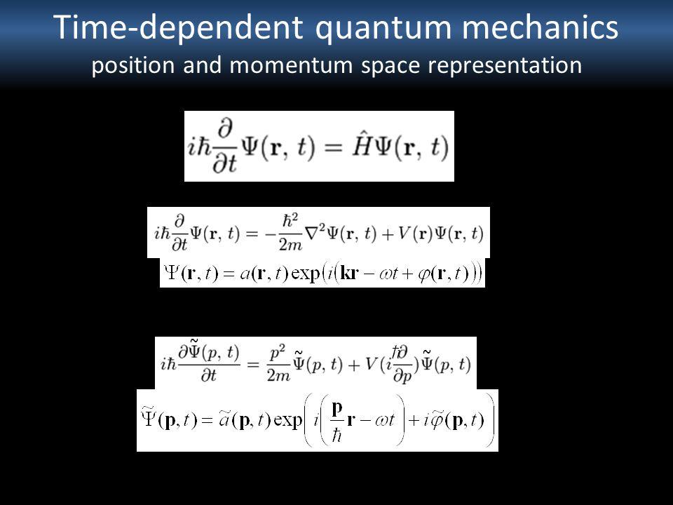 Time-dependent quantum mechanics position and momentum space representation ~ ~ ~