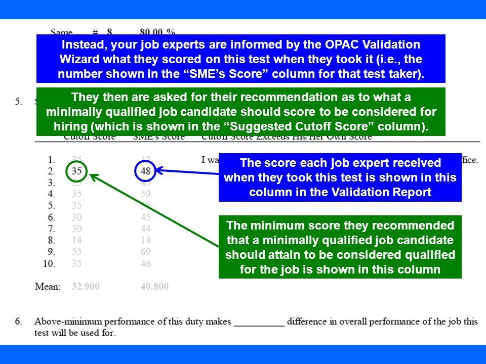 22 The score each job expert received when they took this test is shown in this column in the Validation Report The minimum score they recommended tha