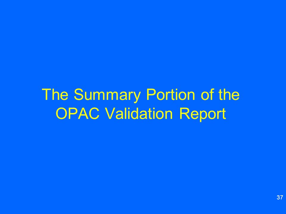 37 The Summary Portion of the OPAC Validation Report