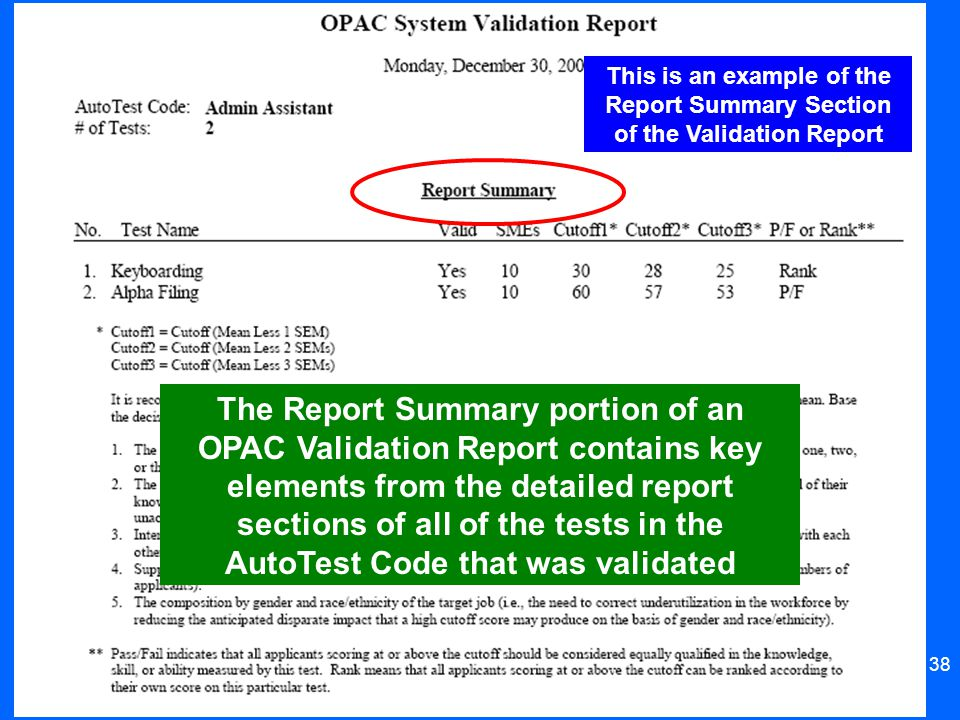 38 This is an example of the Report Summary Section of the Validation Report The Report Summary portion of an OPAC Validation Report contains key elem