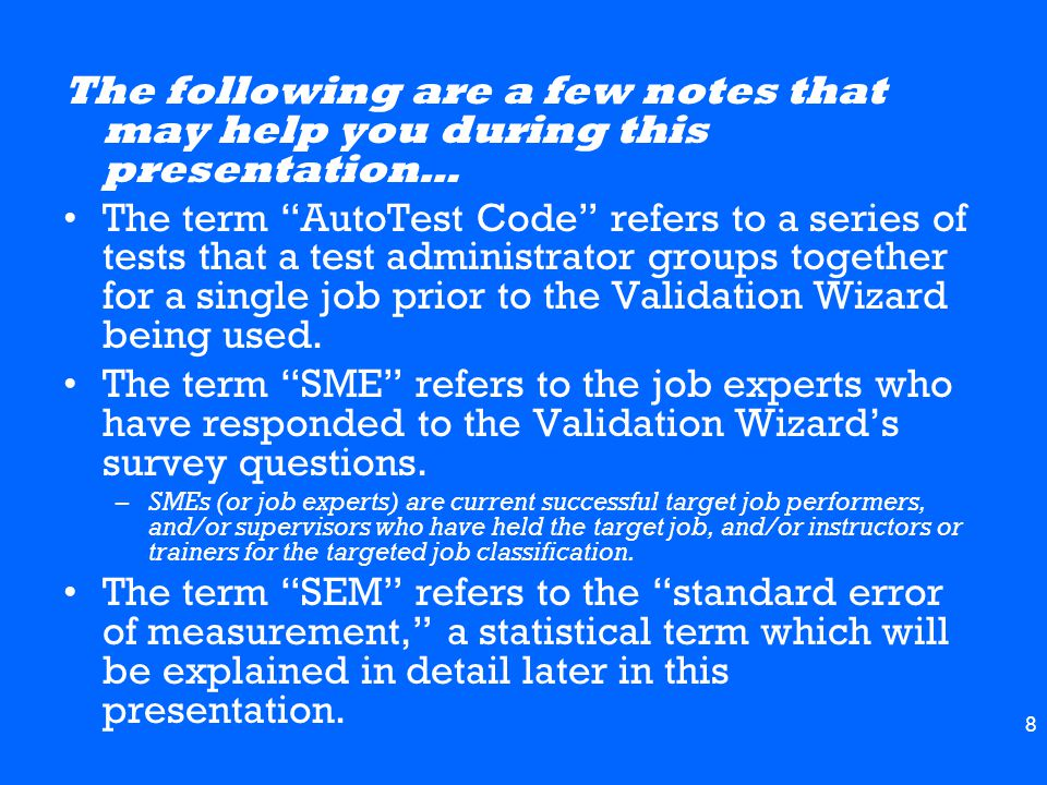 9 There are two sections to the Validation Report Detailed section Summary section –This presentation will focus on each section separately, starting with the detailed section