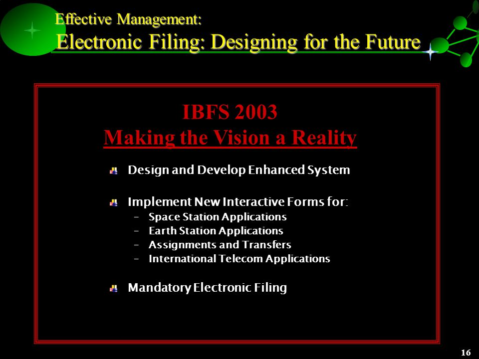 15 Effective Management: Effective Management: Electronic Filing: Designing for the Future Increased Time Savings for Customers The average filer saves between 7 and 21 days of processing time Earth Station Licenses can save up to one month of processing time 2002: Requirements Analysis for Enhanced IBFS Customer-driven process Proposals for Advanced Interactive Design for Improved E-processes Track with Commission Proposals for Satellite Process Streamlining and Reform In Sync with FCC Enterprise-Wide Vision Increasing Voluntary Filing Rates 60% - Earth Station License Applications 70 % - International Section 214 Applications 70% - Space Station Applications 100% - Accounting Rate Change Requests 1234567 891011121314 15161718192021 22232425262728 293031