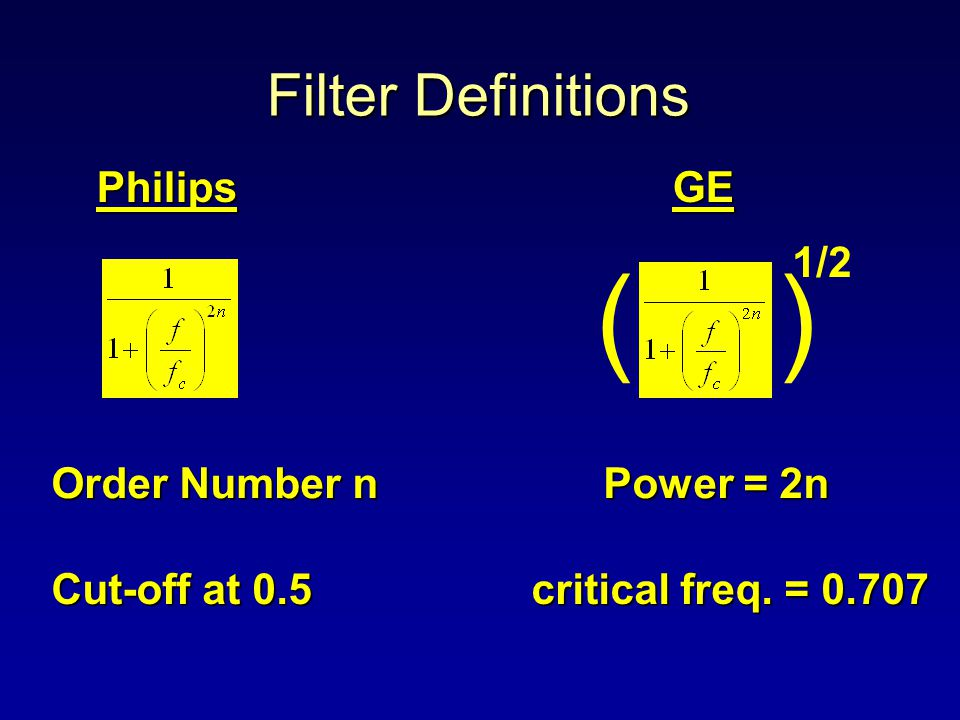 Filter Definitions PhilipsGE () 1/2 Order Number n Power = 2n Cut-off at 0.5 critical freq. = 0.707