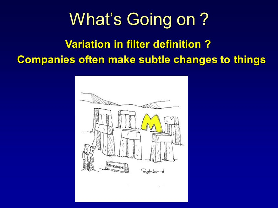 Whats Going on ? Variation in filter definition ? Companies often make subtle changes to things
