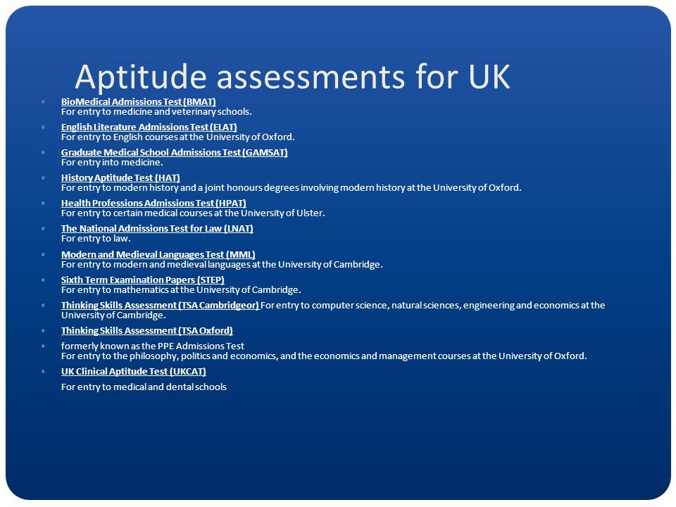 Aptitude assessments for UK BioMedical Admissions Test (BMAT) For entry to medicine and veterinary schools.