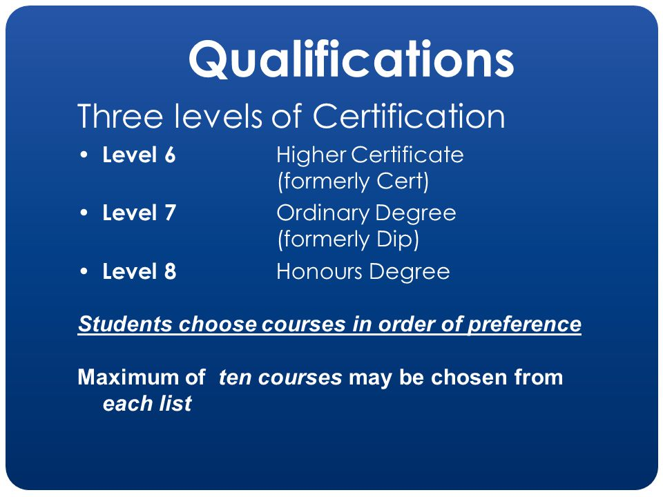 Qualifications Three levels of Certification Level 6 Higher Certificate (formerly Cert) Level 7 Ordinary Degree (formerly Dip) Level 8 Honours Degree
