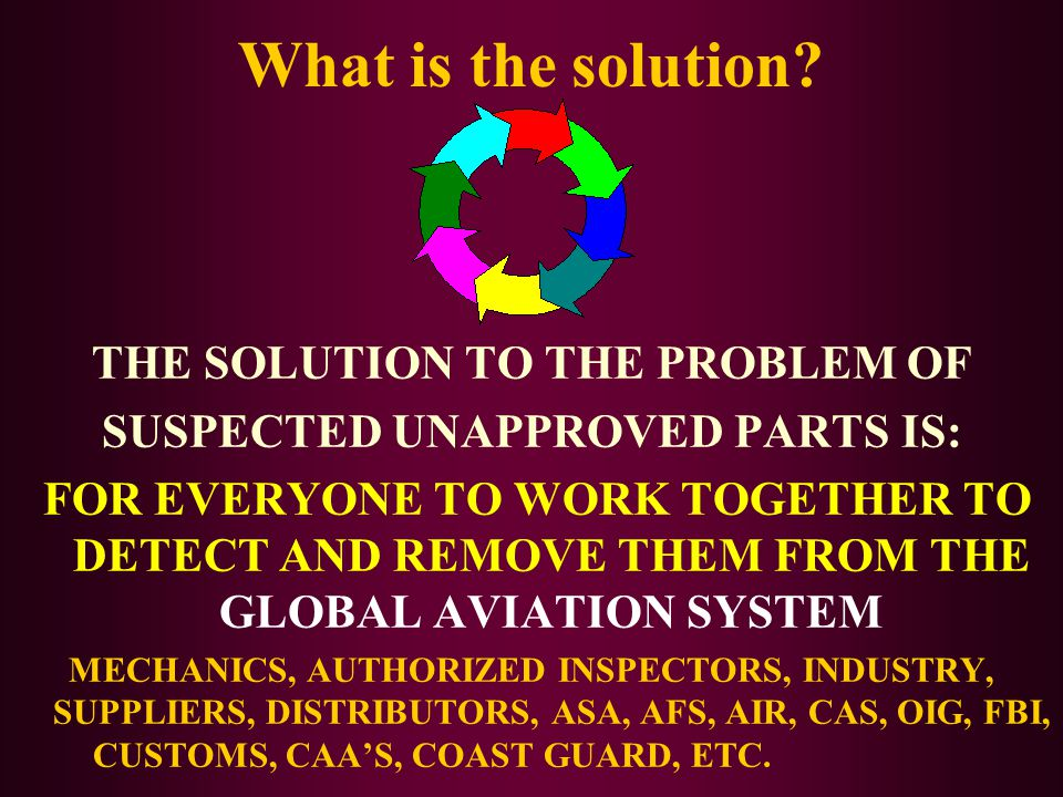 What is the solution? THE SOLUTION TO THE PROBLEM OF SUSPECTED UNAPPROVED PARTS IS: FOR EVERYONE TO WORK TOGETHER TO DETECT AND REMOVE THEM FROM THE G