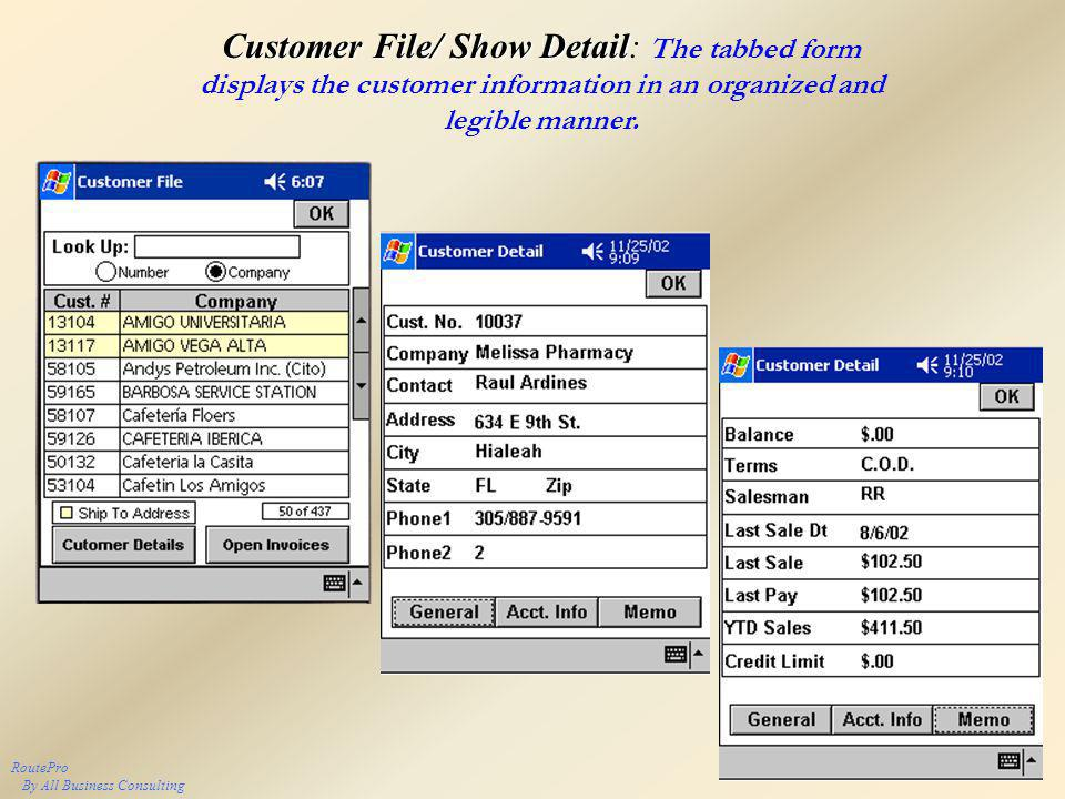 Customer File/ Show Detail Customer File/ Show Detail: The tabbed form displays the customer information in an organized and legible manner.