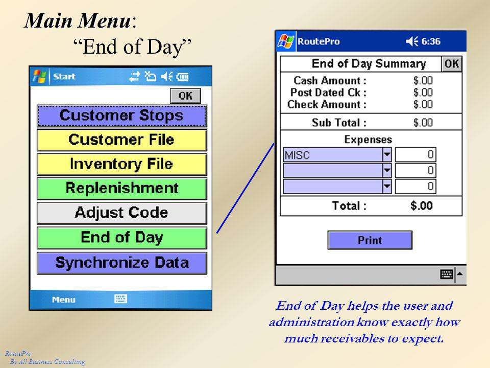 Main Menu Main Menu: End of Day RoutePro By All Business Consulting End of Day helps the user and administration know exactly how much receivables to expect.