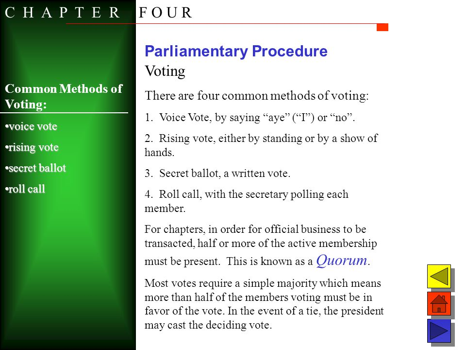 Parliamentary Procedure Voting There are four common methods of voting: 1. Voice Vote, by saying aye (I) or no. 2. Rising vote, either by standing or