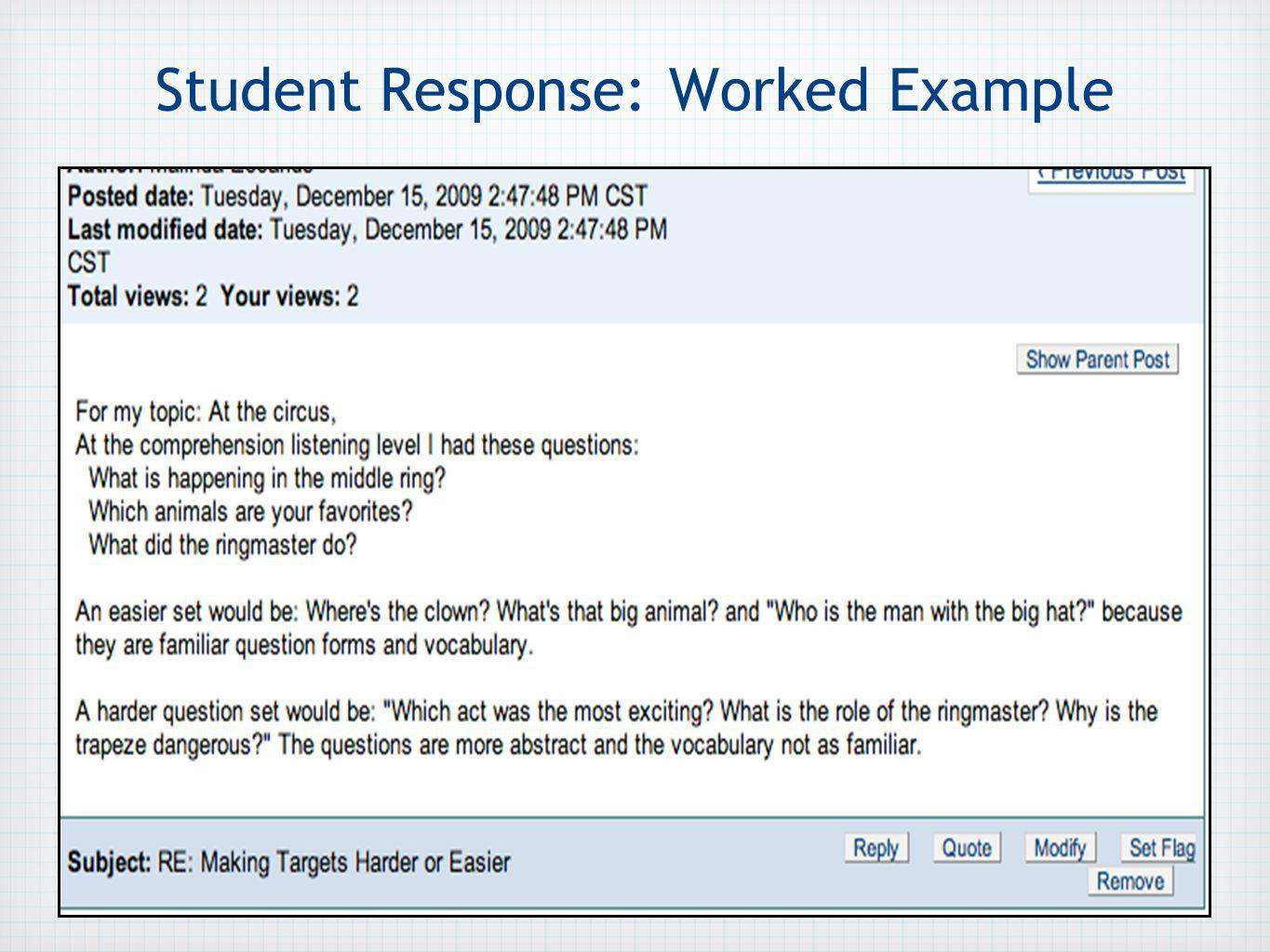Student Response: Worked Example