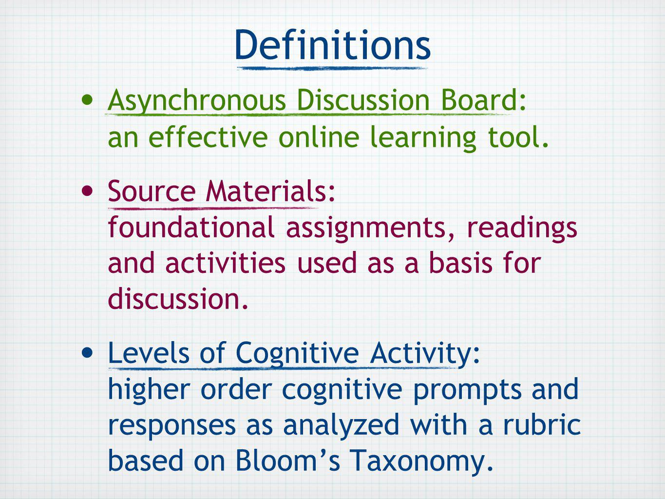 Definitions Asynchronous Discussion Board: an effective online learning tool.
