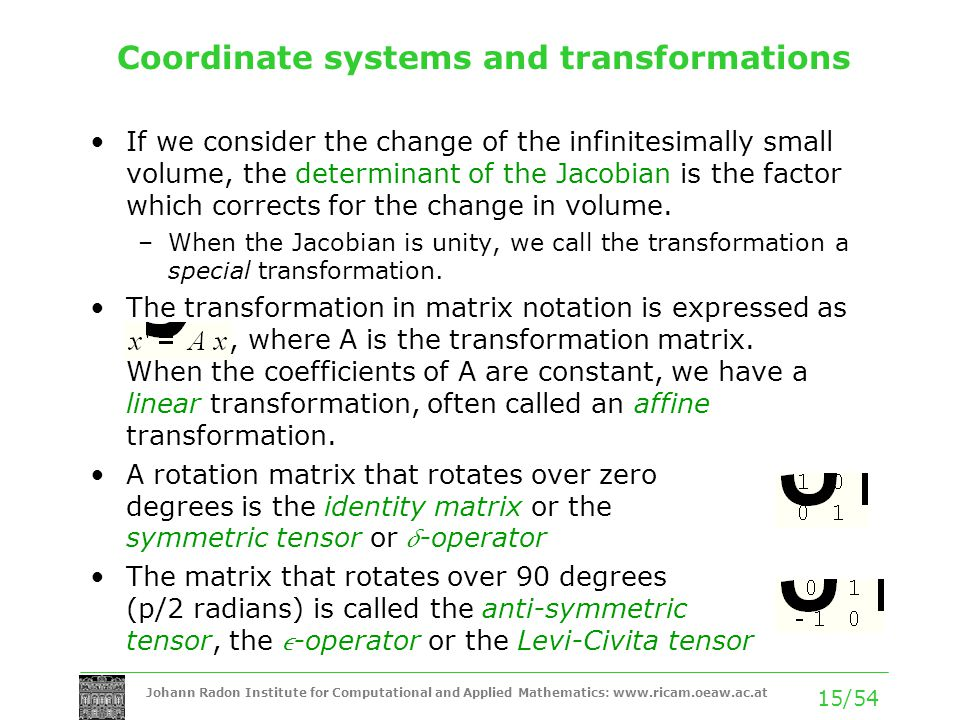 Johann Radon Institute for Computational and Applied Mathematics: www.ricam.oeaw.ac.at 15/54 Coordinate systems and transformations If we consider the