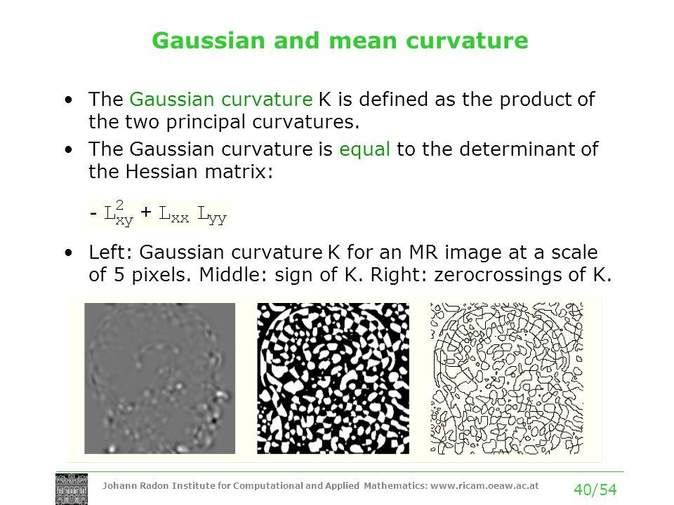 Johann Radon Institute for Computational and Applied Mathematics: www.ricam.oeaw.ac.at 40/54 Gaussian and mean curvature The Gaussian curvature K is d