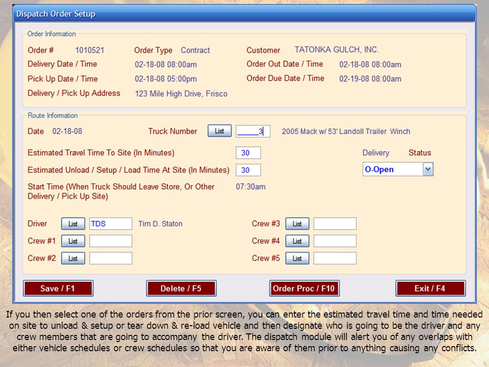 Order Header screen showing the Dispatch / F7 button that is available in the Delivery / Pickup area.