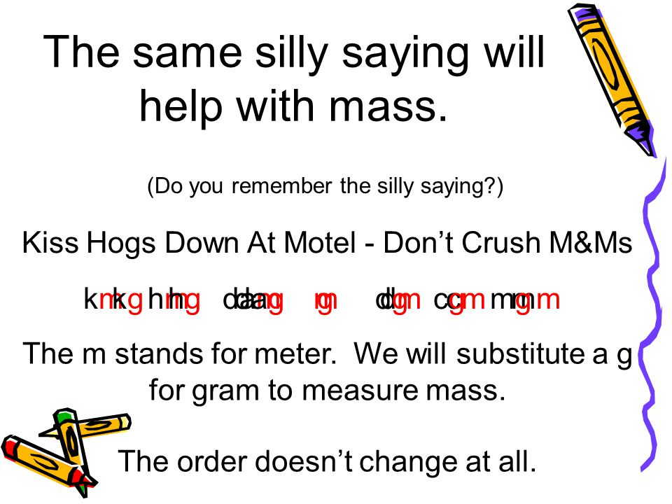 The same silly saying will help with mass. (Do you remember the silly saying?) Kiss Hogs Down At Motel - Dont Crush M&Ms km hm dam m dm cm mm The m st