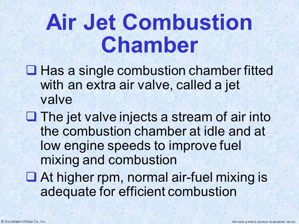 © Goodheart-Willcox Co., Inc. Permission granted to reproduce for educational use only Air Jet Combustion Chamber Has a single combustion chamber fitt