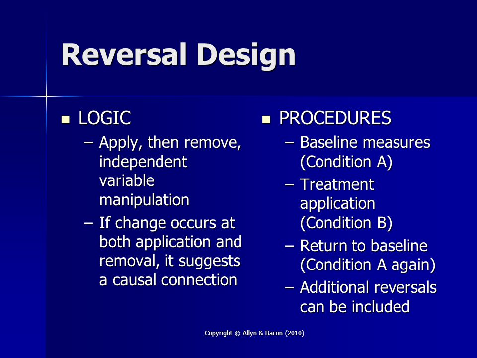 Copyright © Allyn & Bacon (2010) Reversal Design LOGIC LOGIC –Apply, then remove, independent variable manipulation –If change occurs at both application and removal, it suggests a causal connection PROCEDURES PROCEDURES –Baseline measures (Condition A) –Treatment application (Condition B) –Return to baseline (Condition A again) –Additional reversals can be included