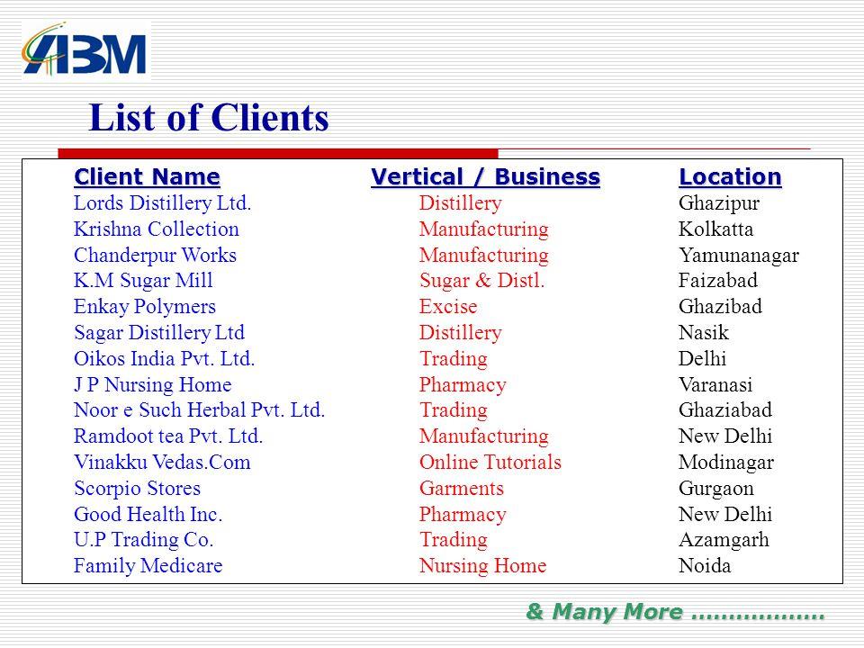 List of Clients Client NameVertical / BusinessLocation Client Name Vertical / BusinessLocation Lords Distillery Ltd.DistilleryGhazipur Krishna Collect