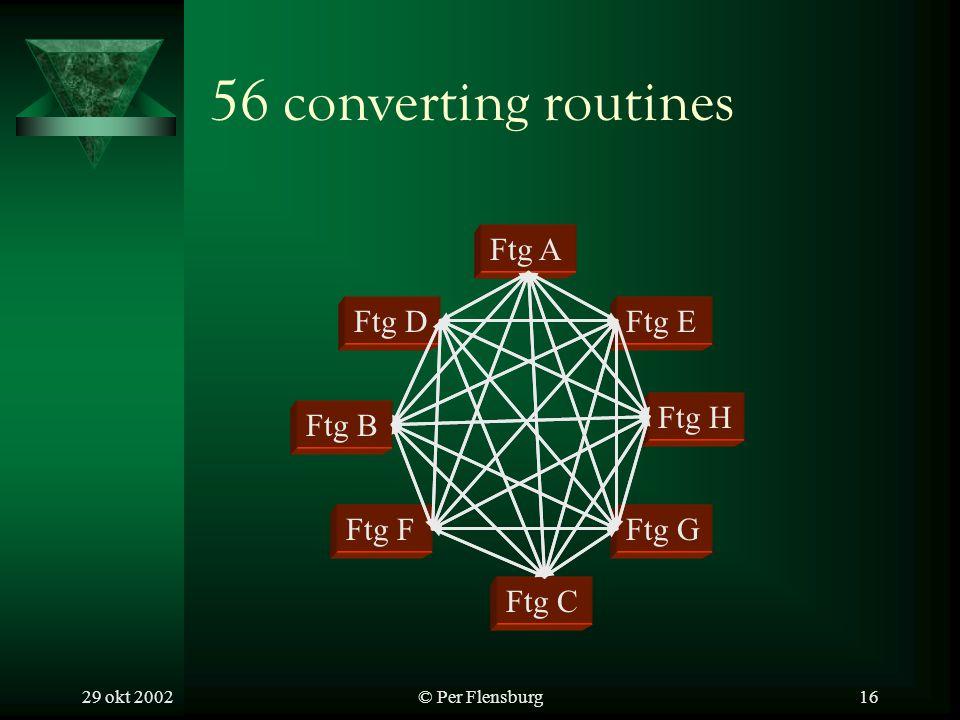 29 okt 2002© Per Flensburg16 56 converting routines Ftg A Ftg B Ftg C Ftg D Ftg F Ftg H Ftg E Ftg G