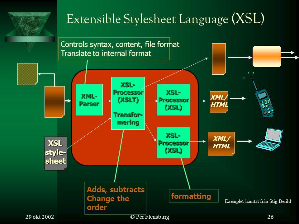 29 okt 2002© Per Flensburg26 Extensible Stylesheet Language (XSL) XSLstyle-sheet XSL-Processor(XSLT)Transfor-mering Adds, subtracts Change the order XSL-Processor(XSL) formatting XML/ HTML XSL-Processor(XSL) XML/ HTML XML-Parser Controls syntax, content, file format Translate to internal format Exemplet hämtat från Stig Berild