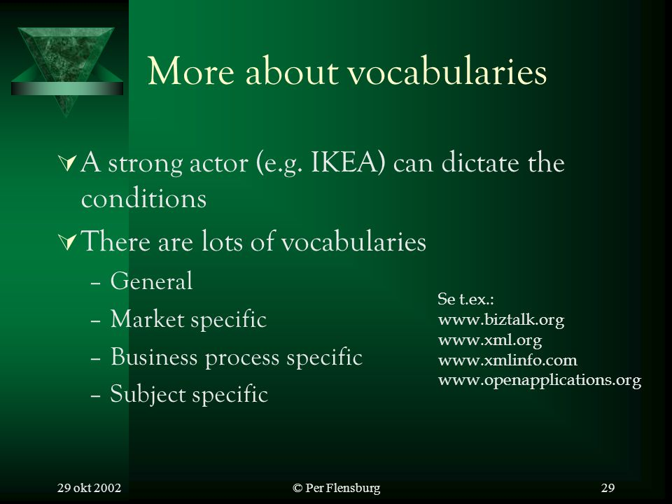 29 okt 2002© Per Flensburg29 More about vocabularies A strong actor (e.g.