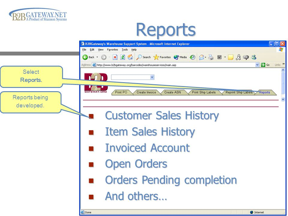 Click Mouse to advance presentation Reports Select Reports.