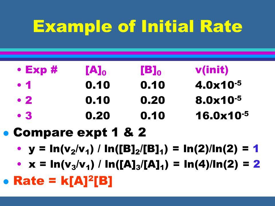 Initial Rates contin. l Divide v 1 by v 2 : v 1 /v 2 = ([B] 1 /[B] 2 ) y l Take logs: ln(v 1 /v 2 ) = y ln([B] 1 /[B] 2 ) l Solve for y: y = ln(v 1 /v
