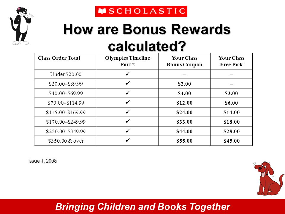 Bringing Children and Books Together How are Bonus Rewards calculated.