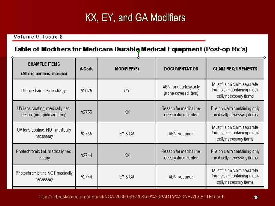 48 KX, EY, and GA Modifiers http://nebraska.aoa.org/prebuilt/NOA/2009-08%203RD%20PARTY%20NEWLSETTER.pdf