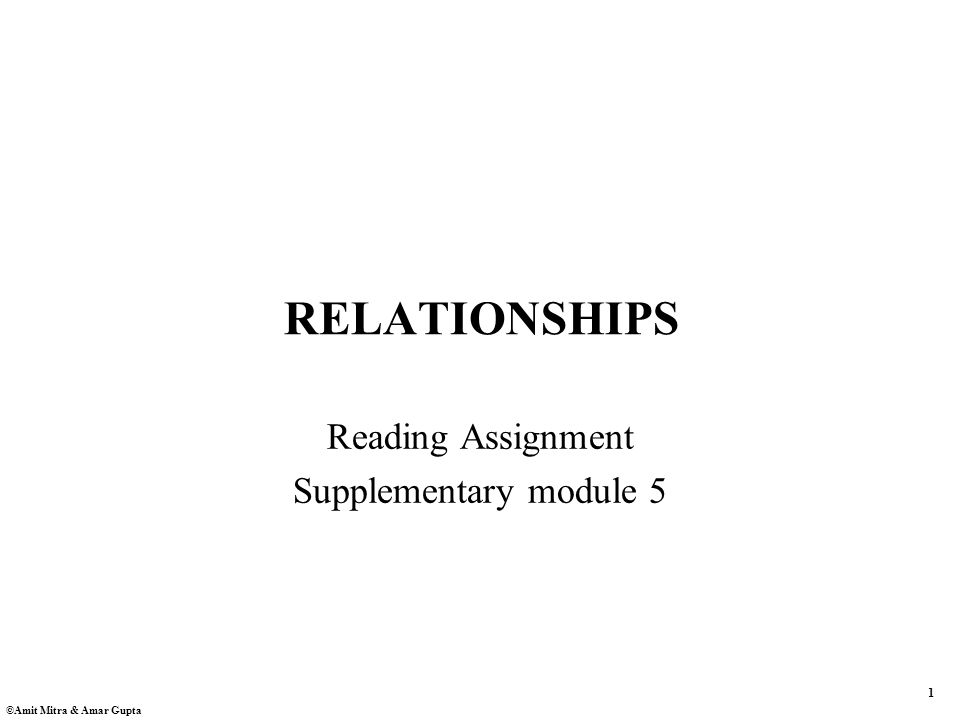 1 ©Amit Mitra & Amar Gupta RELATIONSHIPS Reading Assignment Supplementary module 5